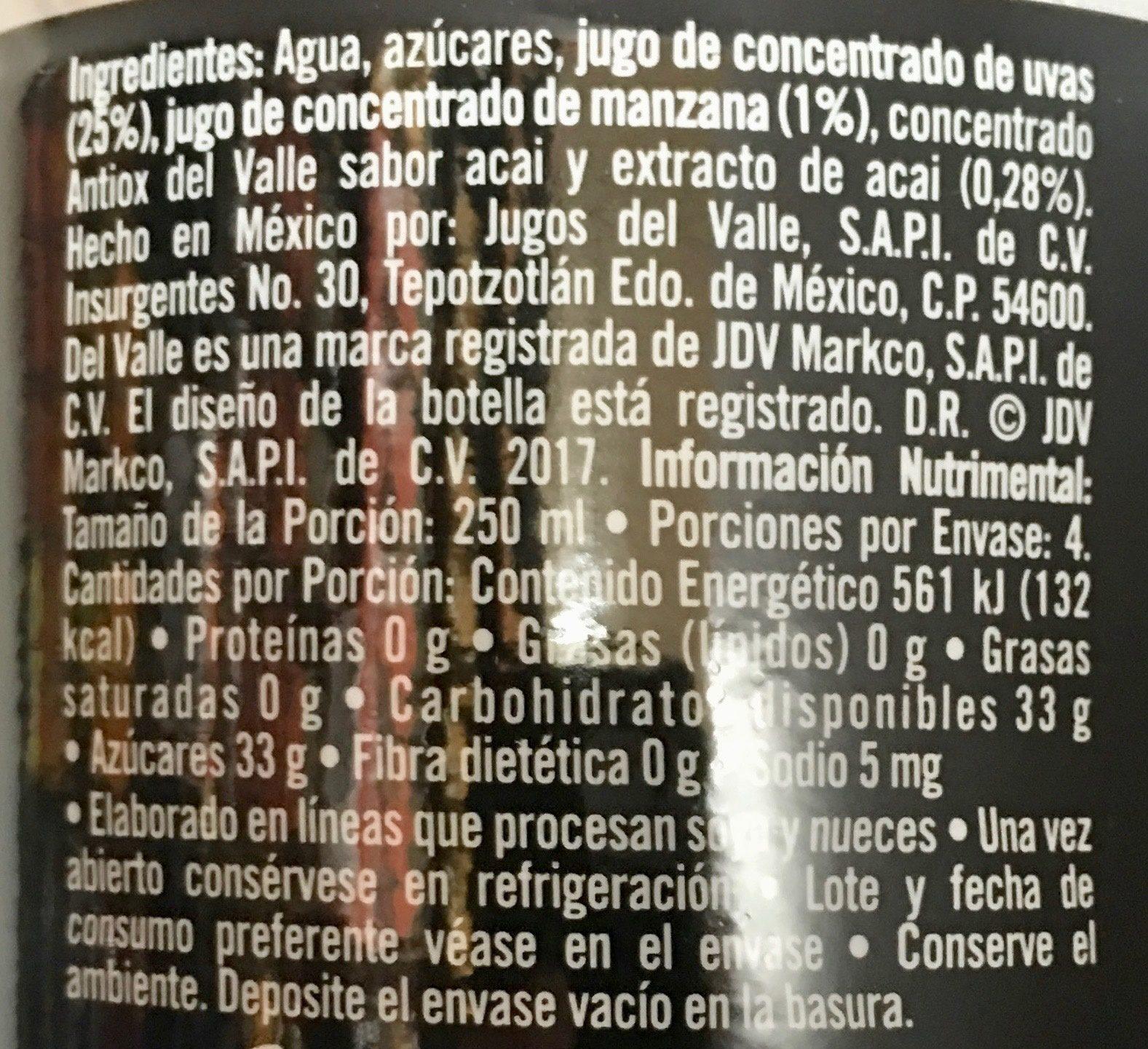 Del Valle Antiox Frutos Mixtos con Acai - Ingredients - es
