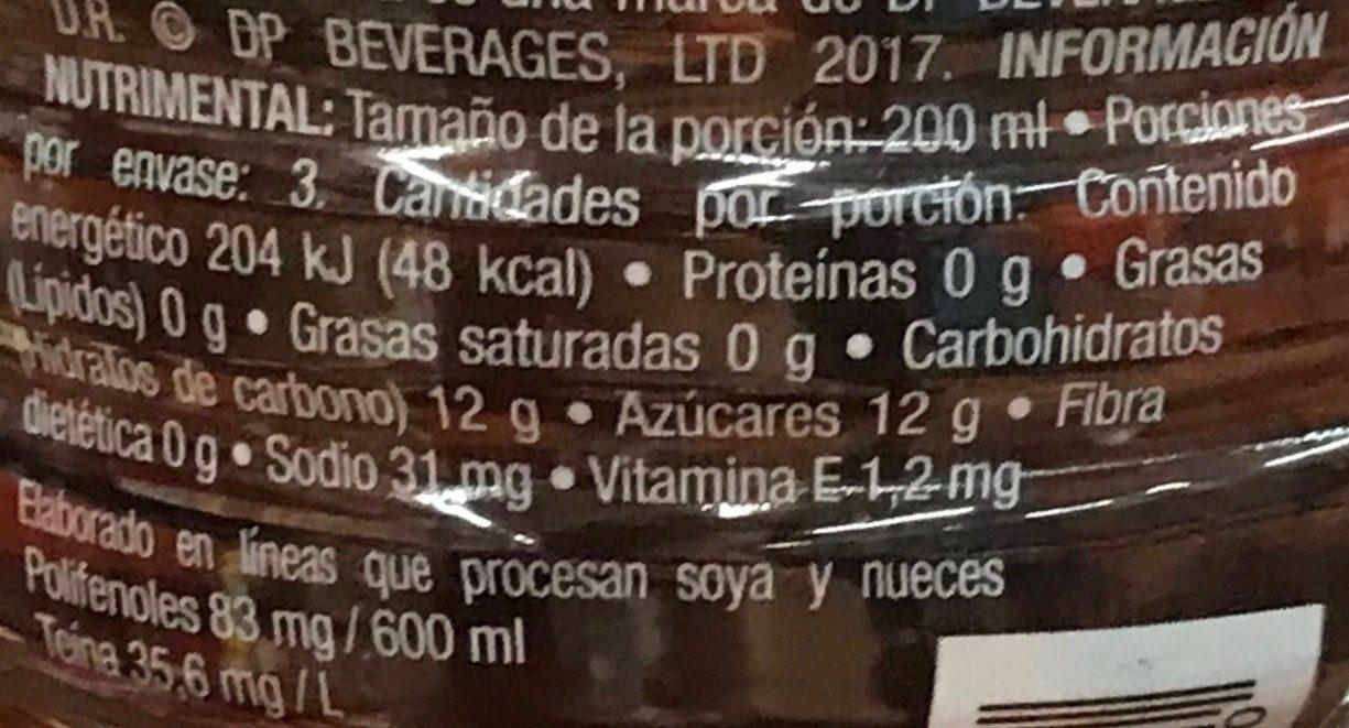 Fuze Tea Te Negro - Voedingswaarden