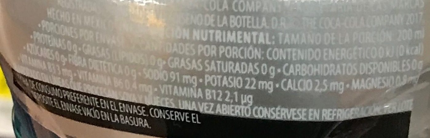 Powerade Zero Ion 4 Moras - Informations nutritionnelles
