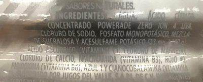 Powerade Zero Ion4 sabor uva - Ingrédients - es