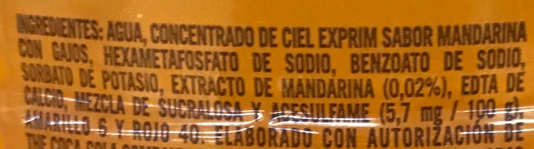 Ciel Exprim sabor Mandarina con Gajos - Ingrédients - es