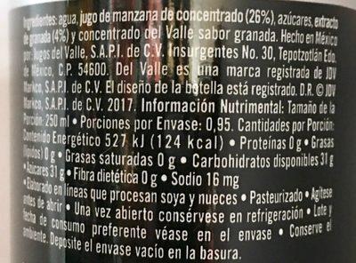Del Valle Antiox - Ingredients - es