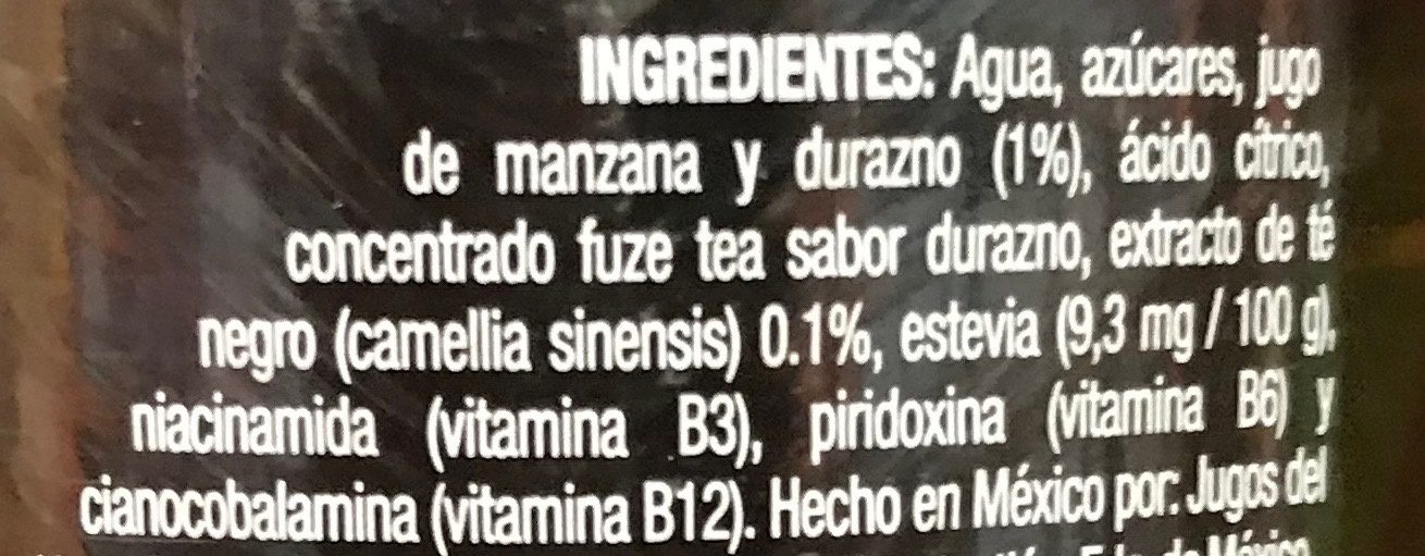 Fuzetea Té negro sabor Durazno - Ingrediënten