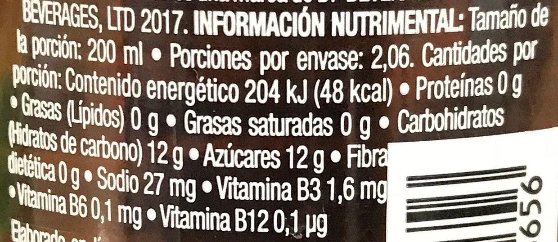 Fuzetea Limón y Té Negro - Voedingswaarden