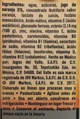 Del Valle Nutri forte Naranja - Ingrédients