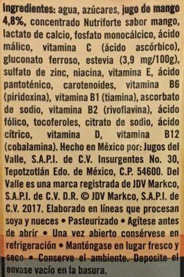 Del Valle Nutri forte Mango - Ingrediënten