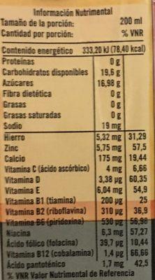 Del Valle Nutri forte Mango - Voedingswaarden