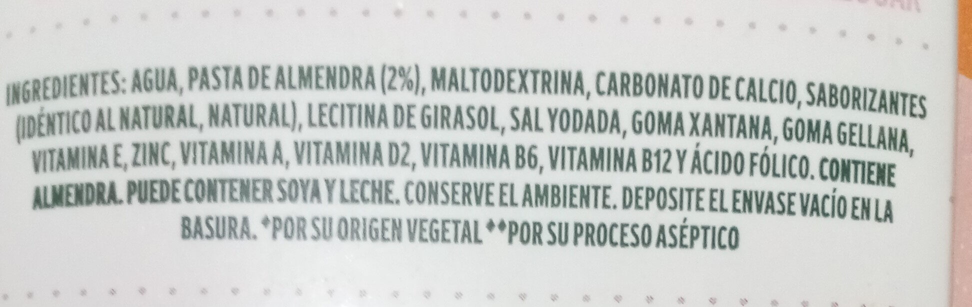 Leche de almendras - Ingredientes - es