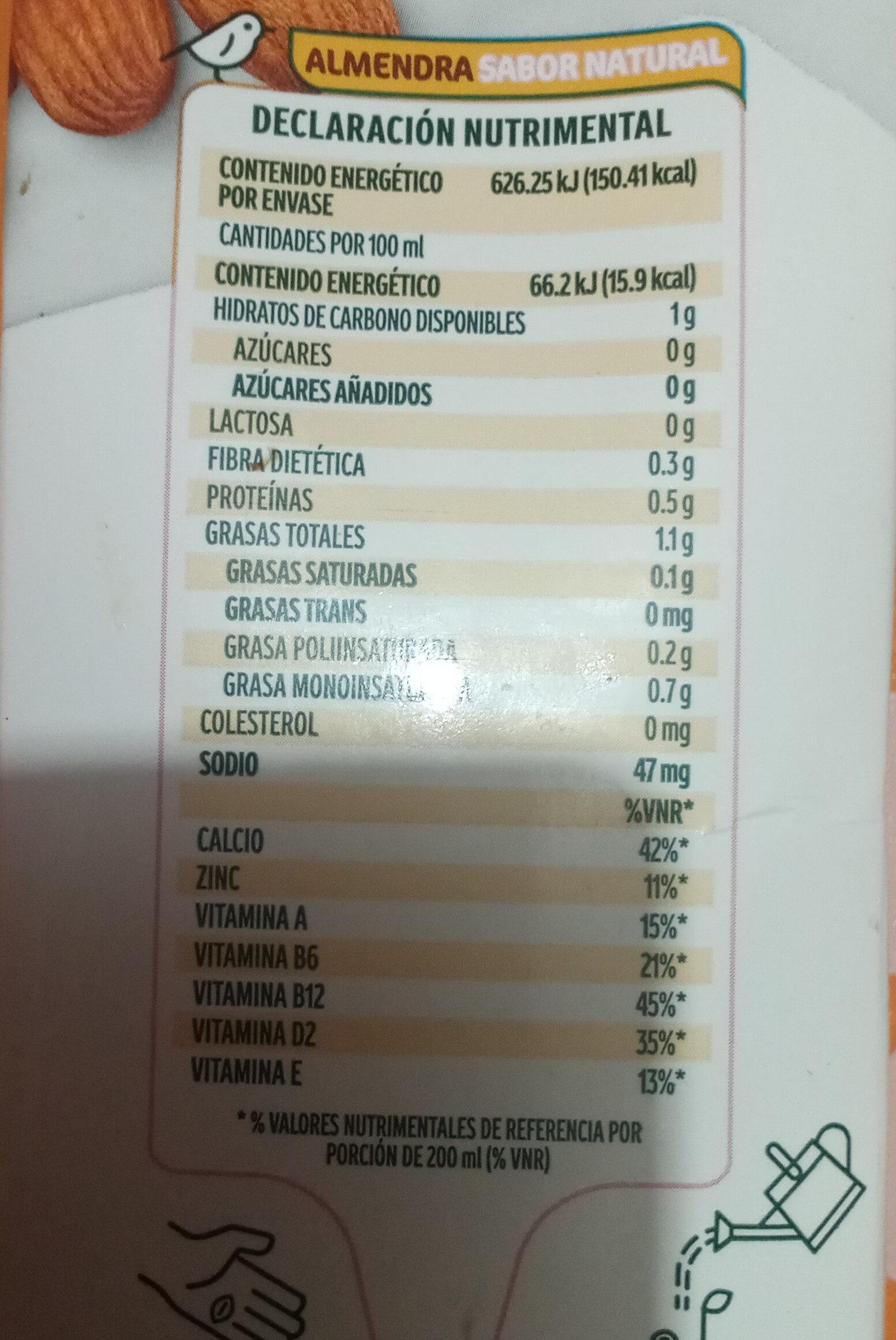 Leche de almendras - Información nutricional - es