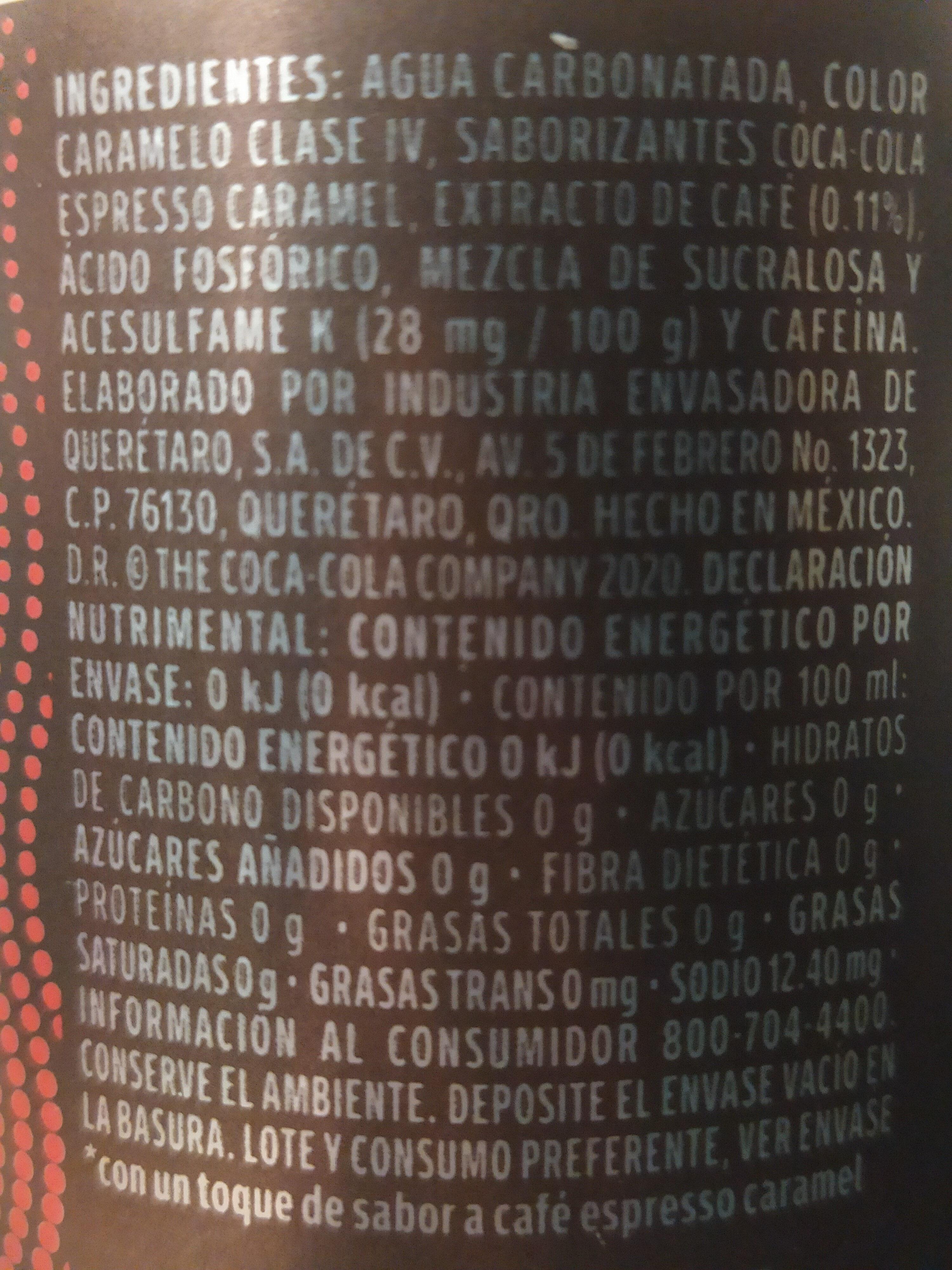 coca cola con extracto de cafe - Ingredientes - es