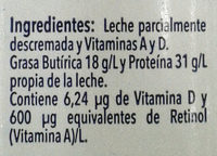 Leche Alpura semi - Ingrediënten - es