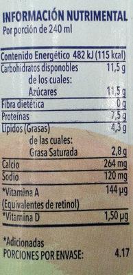 Leche Alpura semi - Información nutricional