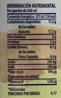 Leche Ultra Pasteurizada Entera - Información nutricional - es