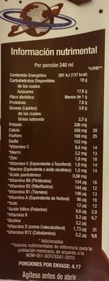 Vaquitas leche sabor chocolate - Nutrition facts