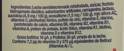 Vaquitas leche semidescremada sabor fresa - Ingredients