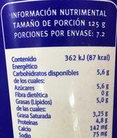 Yoghurt natural sin azúcar - Voedingswaarden - es
