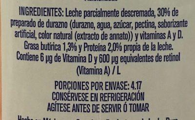 Frutal con leche y fruta sabor durazno - Ingredientes