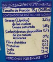 CREMA REDUCIDA EN GRASA - Nutrition facts - es