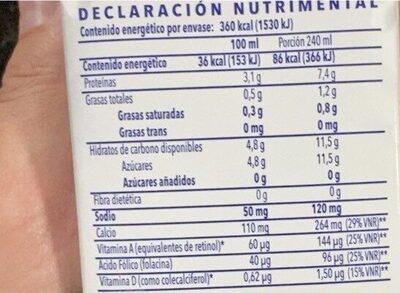 Deslactosada light - Información nutricional - es