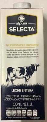 Alpura selecta, leche entera - Producto