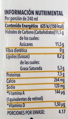Alpura selecta, leche entera - Información nutricional - es