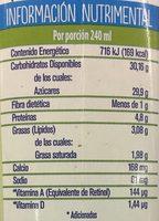 Leche Alpura Frutal sabor Guanábana - Informations nutritionnelles - es