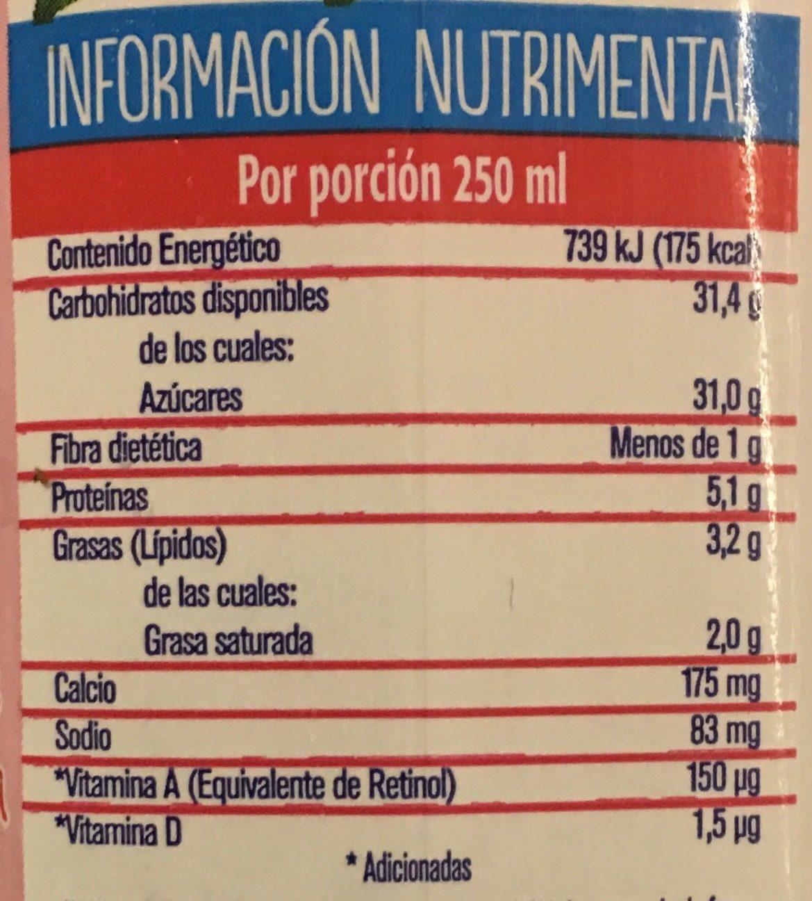 Frutal con leche y fruta sabor fresa, - Información nutricional - es