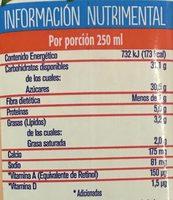 Frutal con leche y fruta sabor durazno - Información nutricional - es