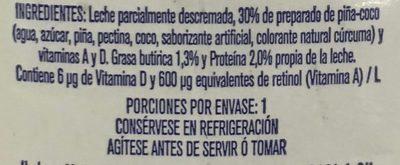 Frutal con leche y fruta sabor piña y coco - Ingrédients - es