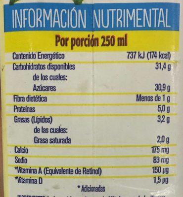 Frutal con leche y fruta sabor piña y coco - Informations nutritionnelles
