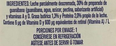 Leche Alpura frutal sabor guanábana - Ingredientes - es