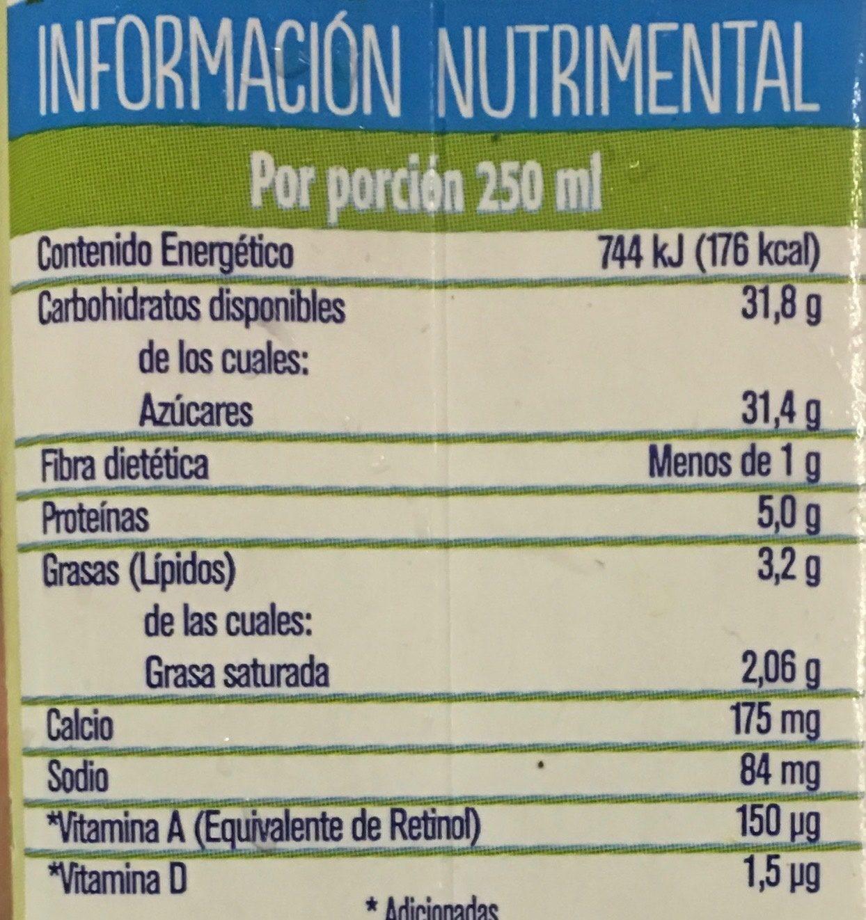 Leche Alpura frutal sabor guanábana - Información nutricional - es
