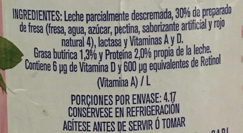 Leche Alpura Frutal sabor fresa - Ingrédients