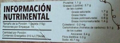 Galletas de nuez - Informació nutricional