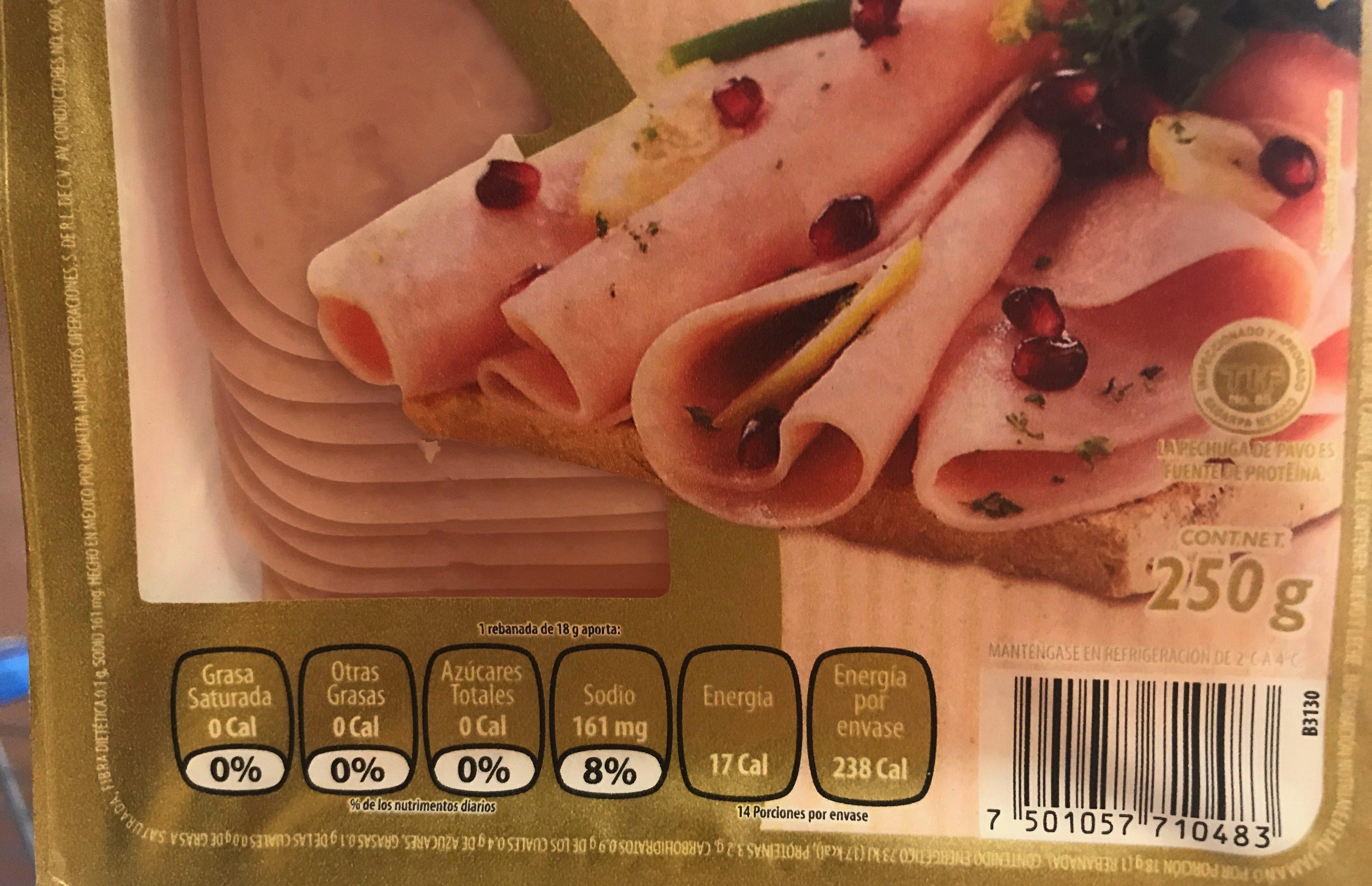Pechuga de pavo natural Zwan - Voedingswaarden - es