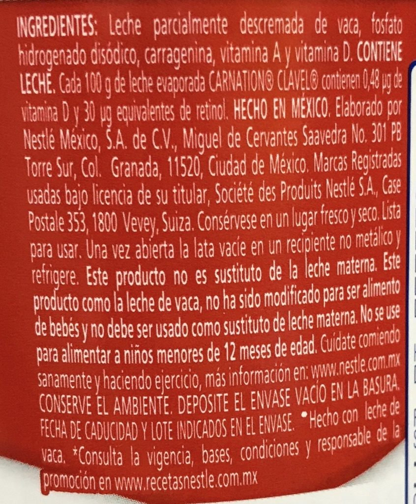 Carnation (Clavel) leche - Ingredientes - es