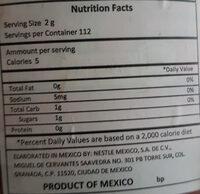 Coffee - Nutrition facts - en