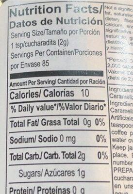 Cafe - Nutrition facts - en