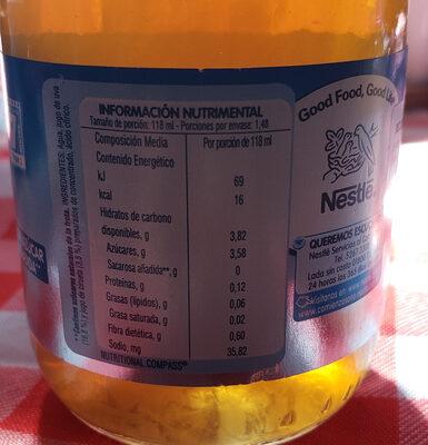 bebida hidratante ciruela pasa - Nutrition facts