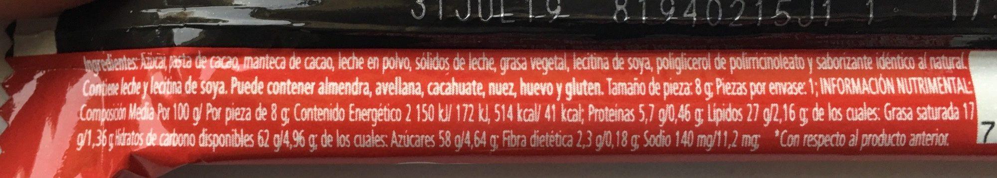 Chocolate Carlos V Stick - Ingredienti - es