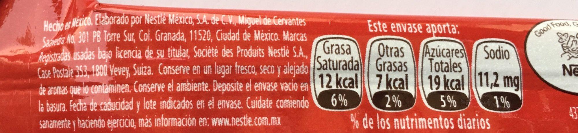Chocolate Carlos V Stick - Valori nutrizionali - es