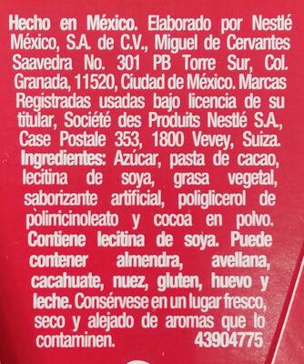 Chocolate Mesa 270 GRS - Ingredients