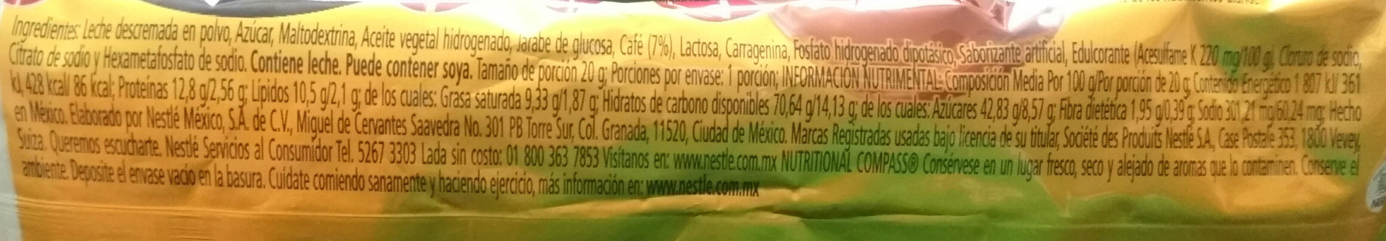 Nescafé cappuccino original - Ingrediënten - es