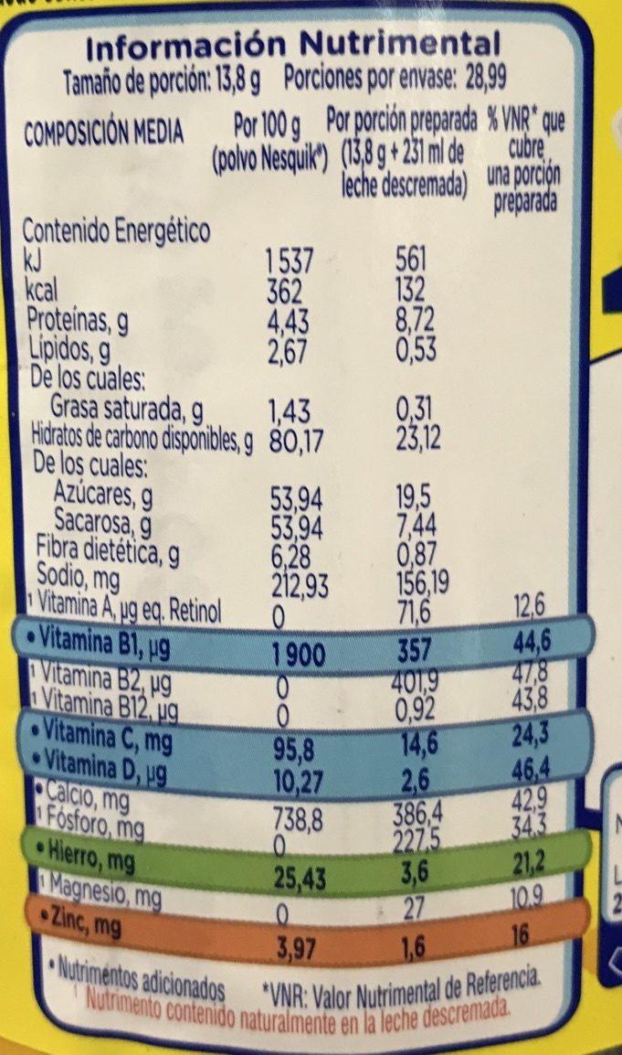 NESQUIK - Informations nutritionnelles - es