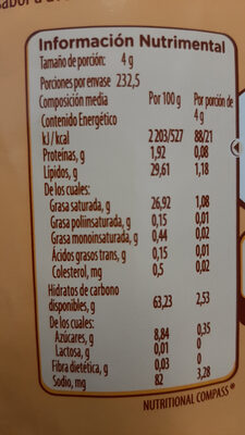 Coffe mate Avellana - Voedingswaarden