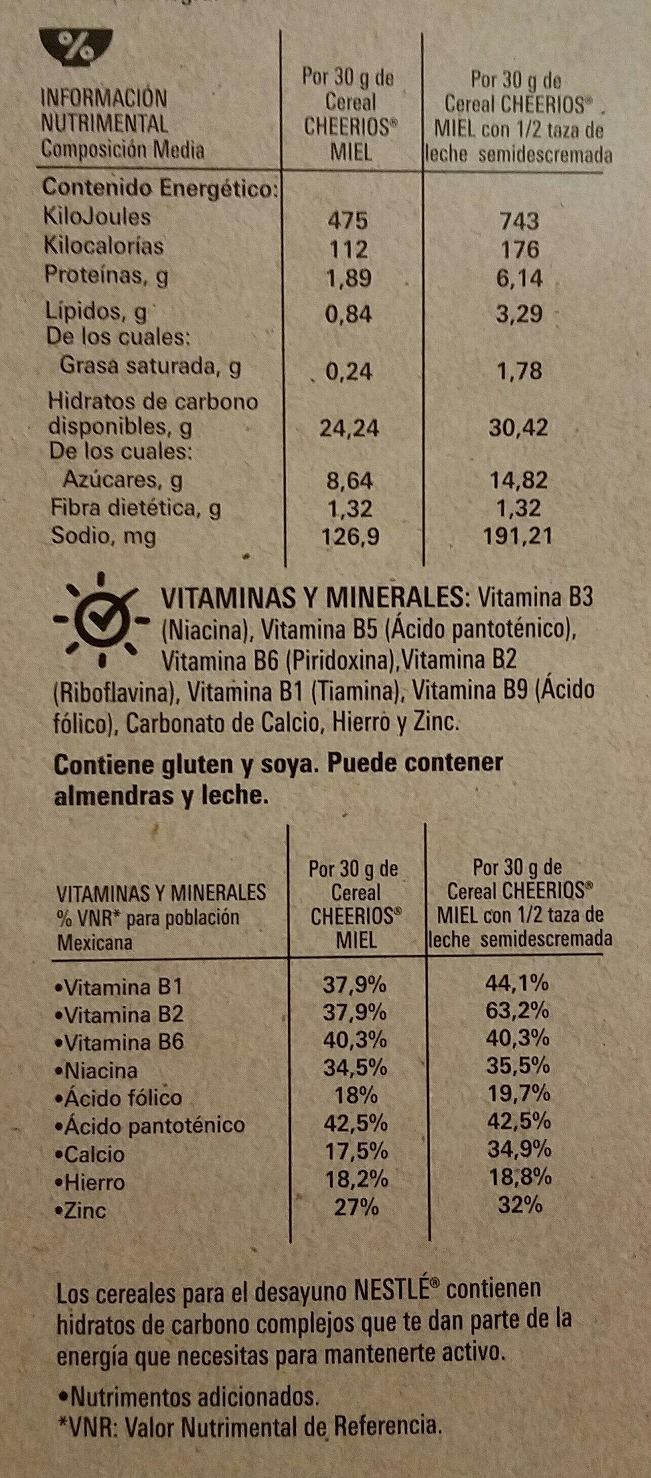 cheerios miel - Informations nutritionnelles - es