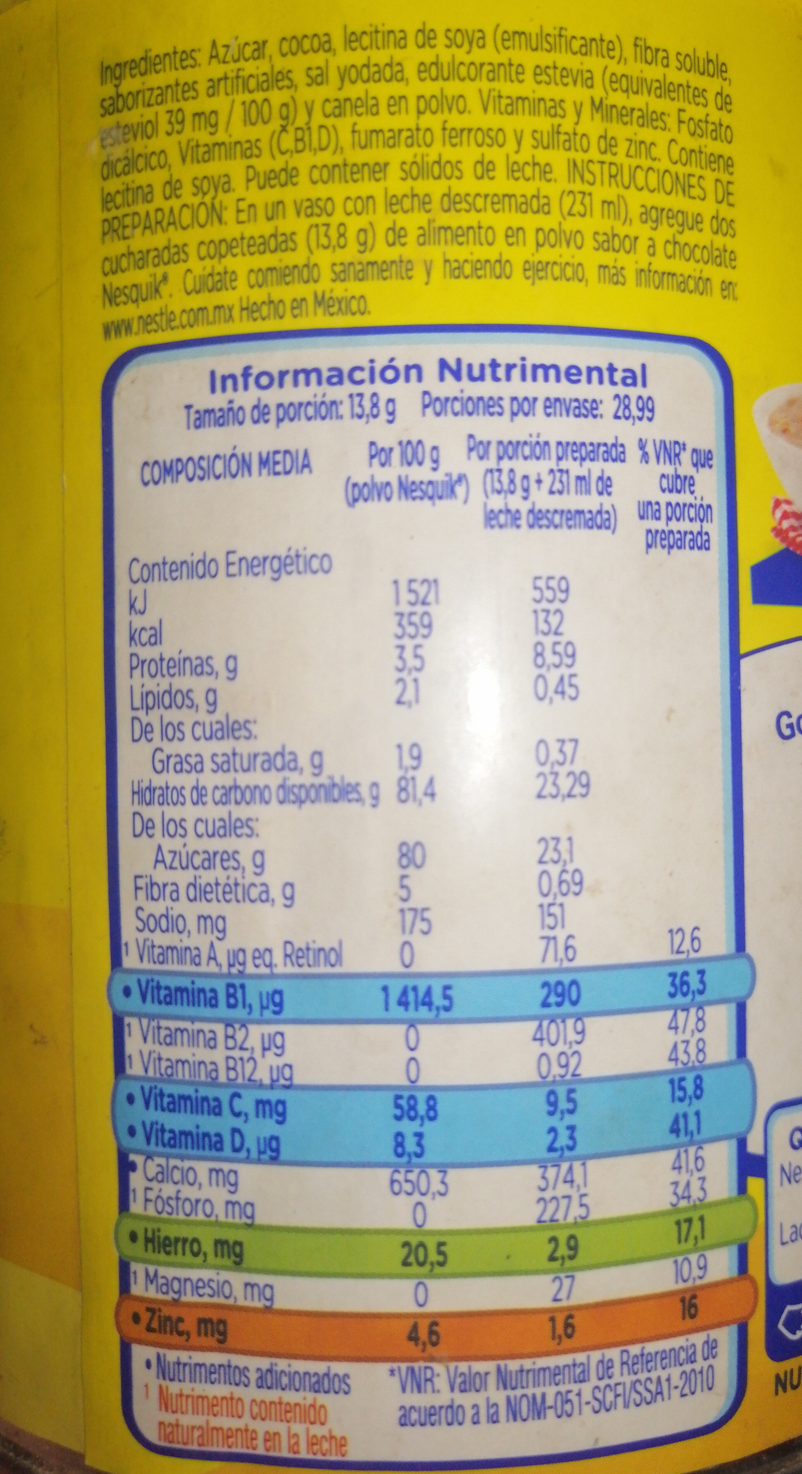 Alimento en polvo para preparar bebida sabor a chocolate - Ingredients - es