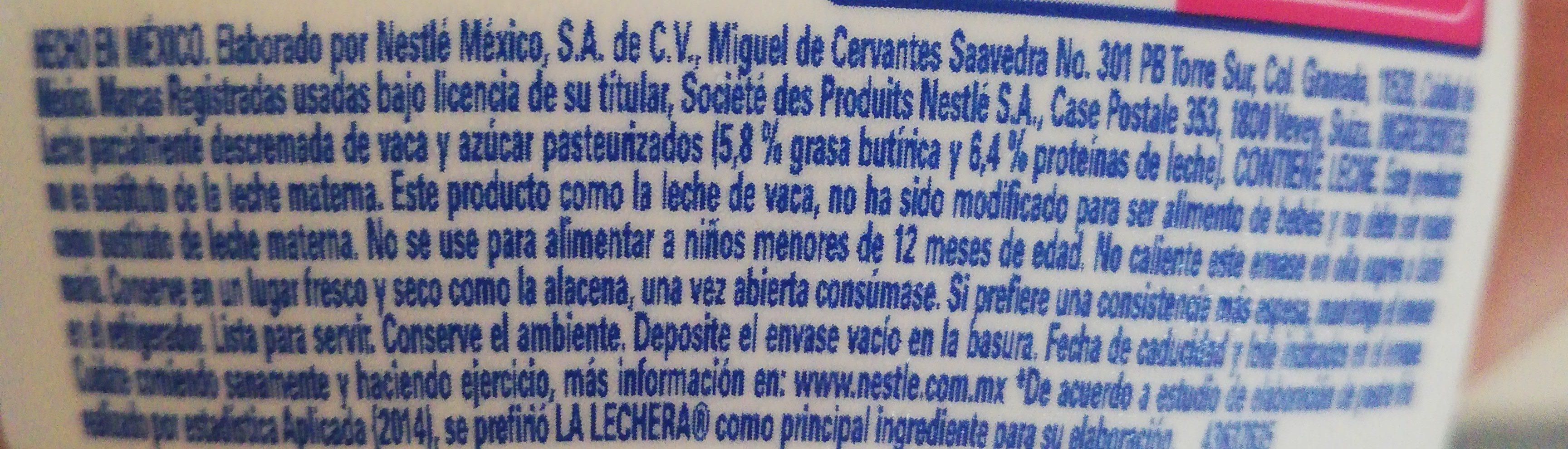 La Lechera Botella Squeeze 335 GRS - Ingredients - en