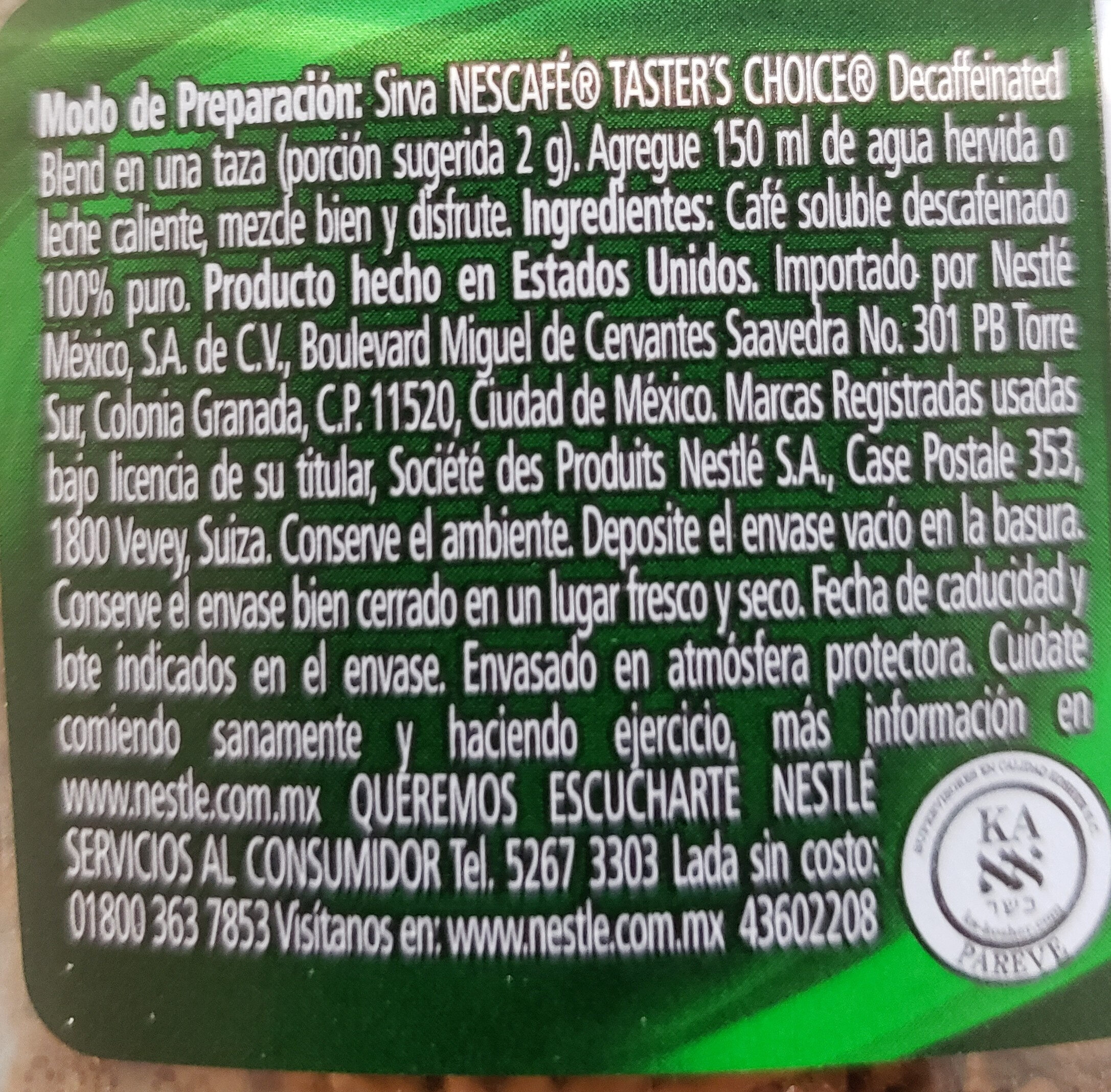 taster's choice descafeinado - Nutrition facts - es