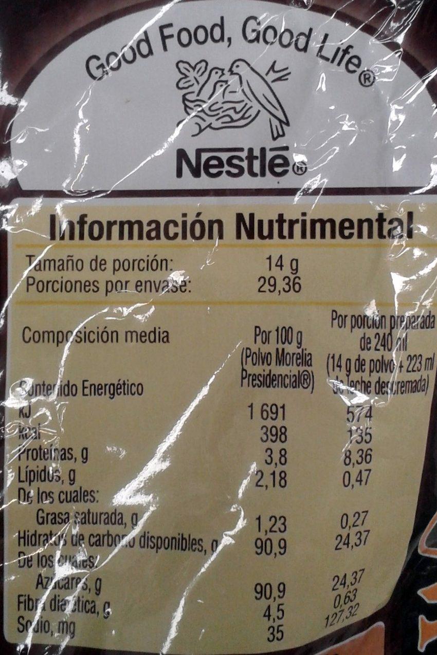 Chocolate Morelia Presidencial - Voedigswaarden